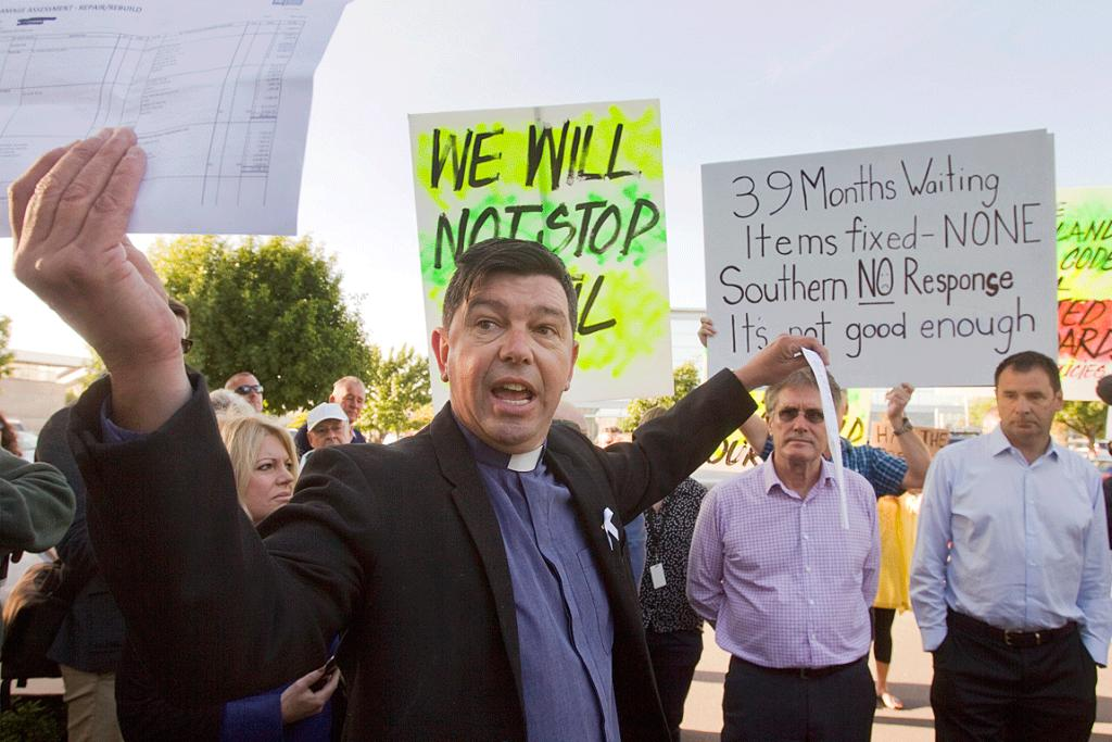 SPEAKING OUT: Rev Mike Coleman during a WeCan protest outside the Canterbury Earthquake Recovery Authority's headquarters.