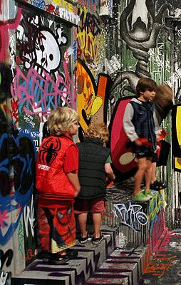 INSPIRED: Children check out the RISE street art exhibition at Canterbury Museum.