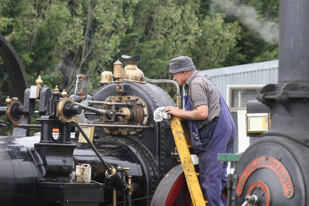 Ian Urquhart checks the oil pressure at the South Canterbury Traction Engine Club open day.