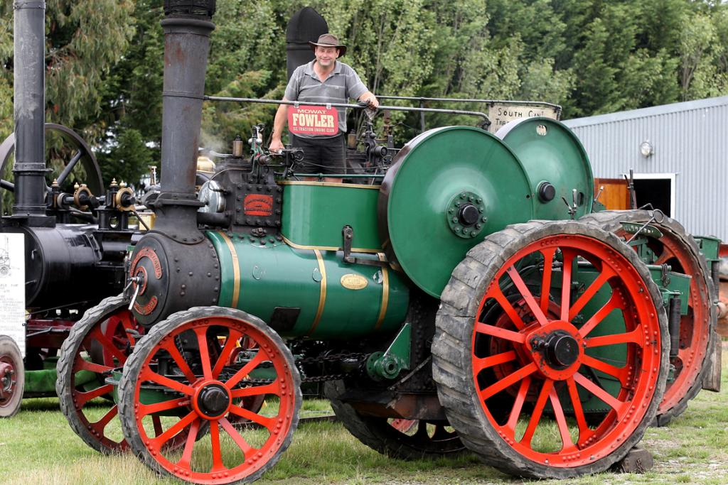 Nigel Gamble, of Totara Valley, on a 1908 Mowet Fowler traction engine that his great grandfather used.