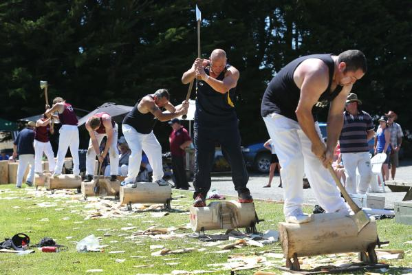 Wood chopping at Otautau