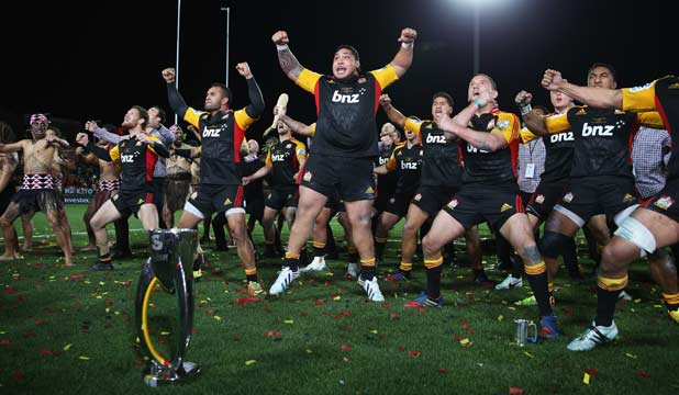 The Chiefs perform their victory haka after winning back-to-back Super Rugby titles in August.