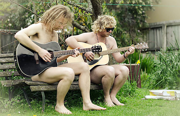 STARK NAKED: Michael Morris and Tom Batchelor relaxing.