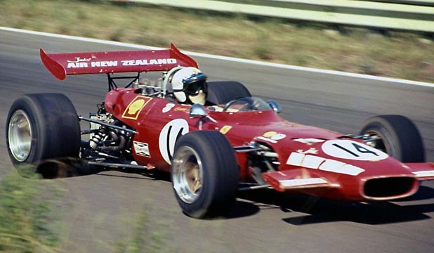 TASMAN GLORY: Graeme Lawrence takes his Ferrari 246T to Tasman series honours in 1970.