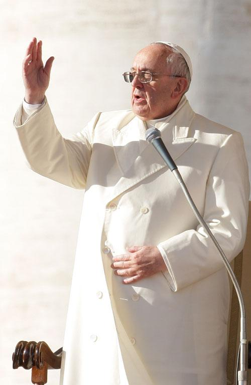 A pope for all seasons. Francis continues to rock his signature style, adding a simple white coat for winter.