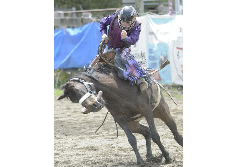 Caleb Honiss, formally from Te Anau, now from Amberley rides a strong saddle bronc at the 46th annual Te Anau Rodeo.