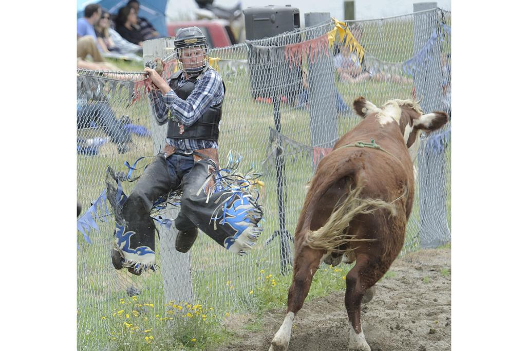 Paul Bowater of Christchurch escapes to safety at the 46th annual Te Anau Rodeo.