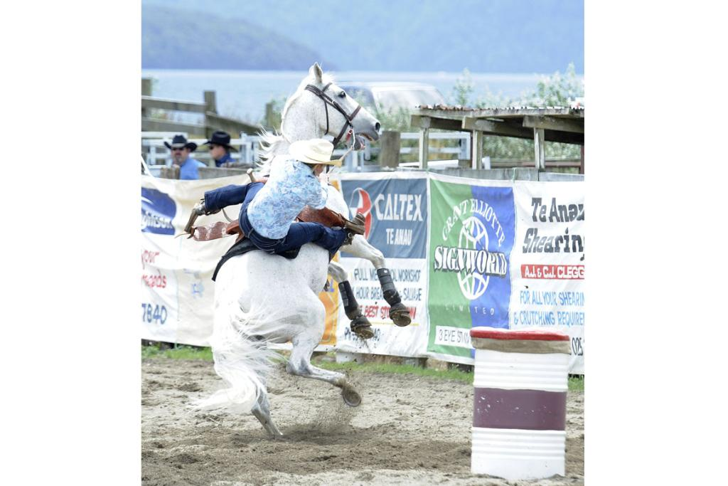 """Alana Nichol, of Lawrence, must be thinking """" That is not the way to ride a Barrel Race"""" at the 46th annual Te Anau Rodeo."""