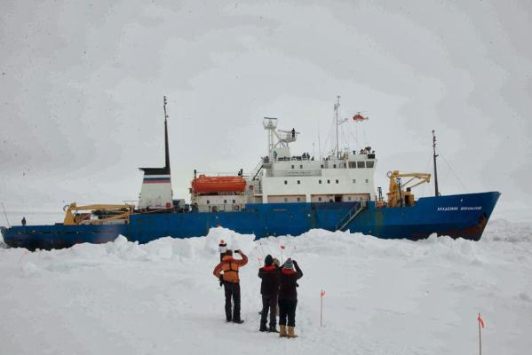 Trapped ship in Antarctica