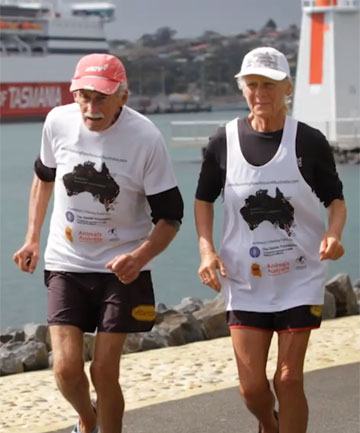 ON THE RUN: Alan Murray and Janette Murray-Wakelin in action.