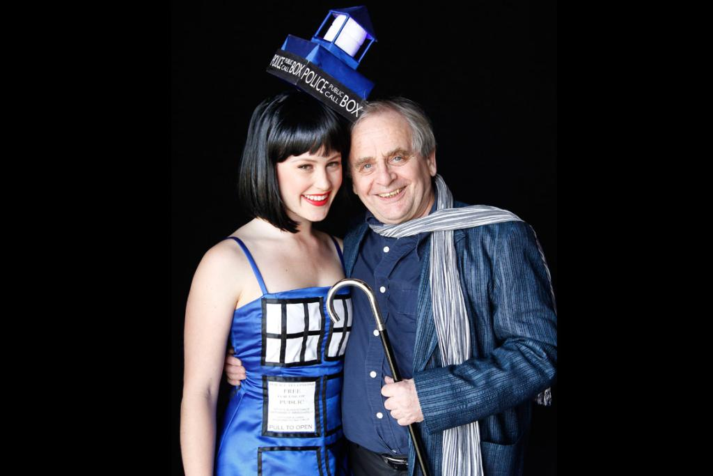 The original Dr Who, Sylvester McCoy, with one of his biggest fans, Amelia McCarthy of Wellington dressed as a Tardis.