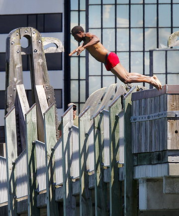 COOLING OFF: Boniface Kinnear, holidaying from Auckland, makes the most of Wellington's balmy weather yesterday.
