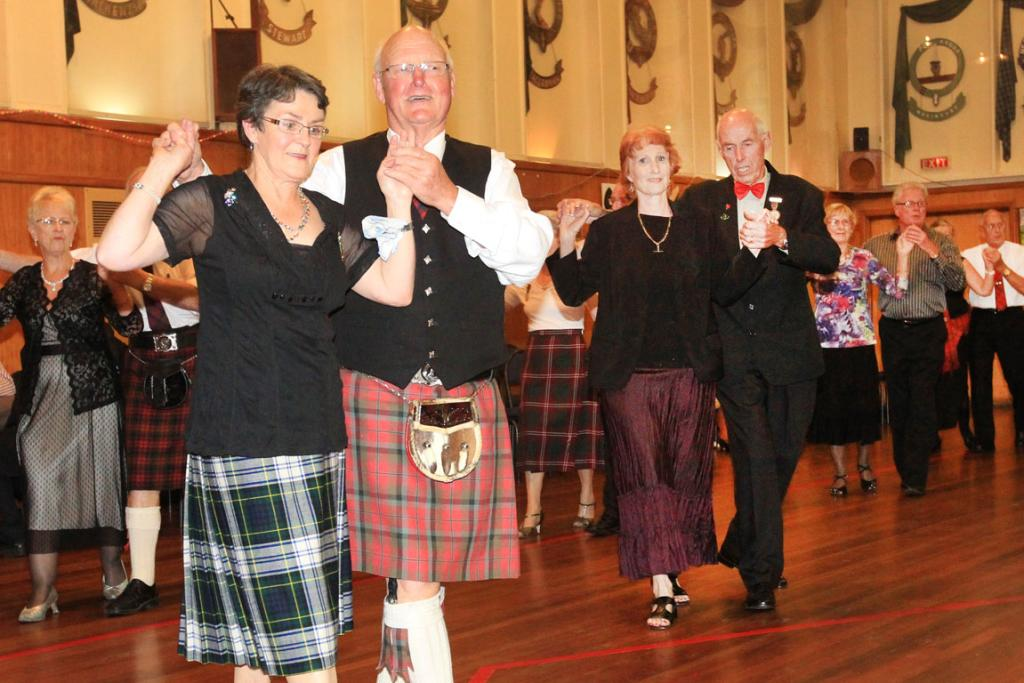 DROP OF CULTURE: Chieftan Bruce McNaughton dances the night away with St Andrew's Scottish Society chief Barbara Swain at the Scottish Hall for Hogmanay, in Southland.