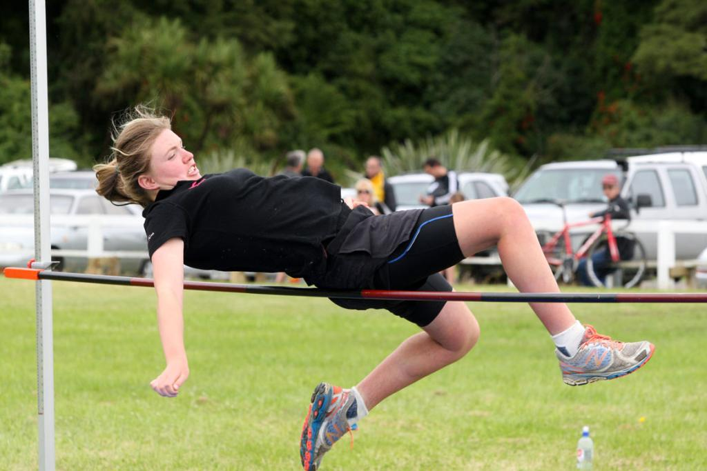 Imogene Macdonald, 16, competes in the high jump at the Tuatapere Sports Day on Wednesday.