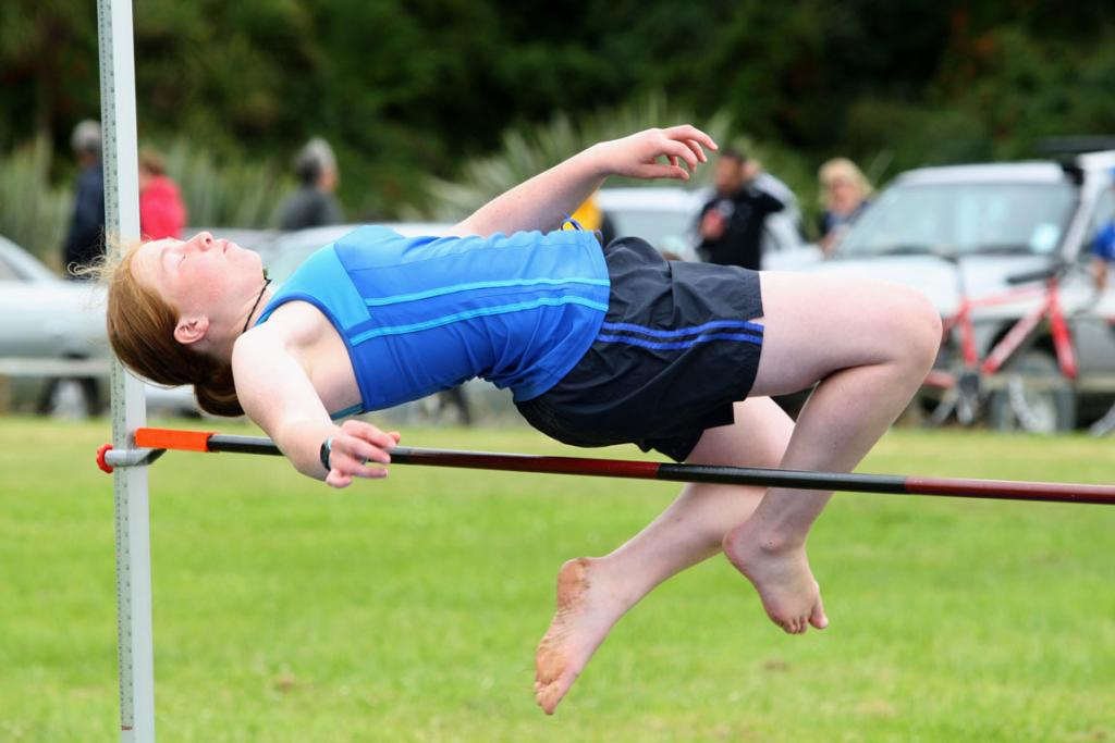 Rachael Beer, 15, competes in the high jump at the Tuatapere Sports Day on Wednesday.