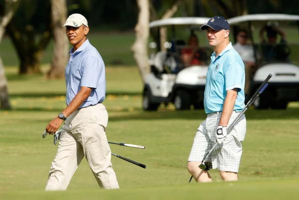 John Key, Barack Obama play golf