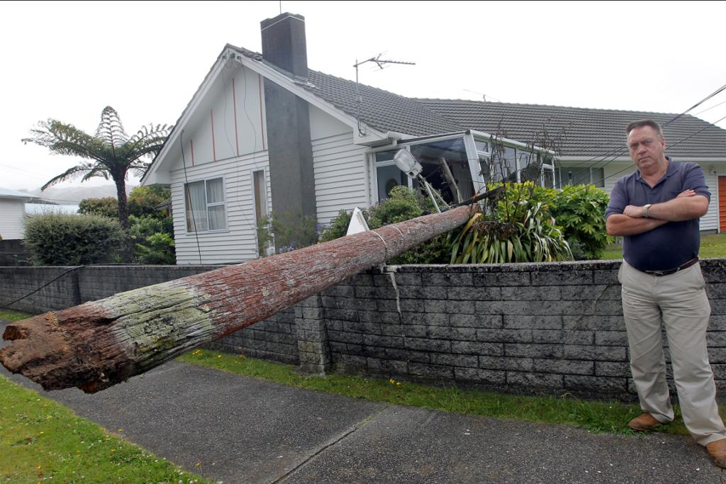 Ken Oliver of Avalon, Lower Hutt, had a blown-over lamp-post fall into his conservatory.