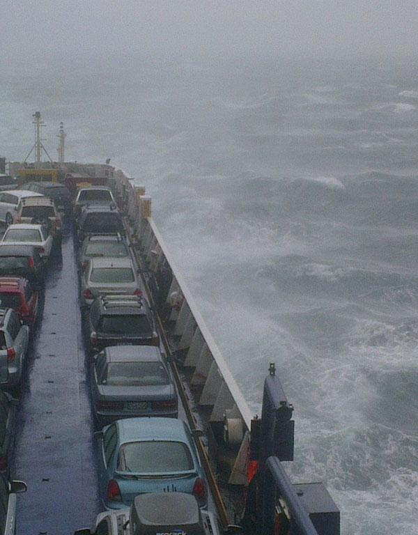 A Cook Strait ferry takes a battering.