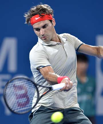 MARCHING ON: Roger Federer dispatched Australian Marinko Matosevic 6-1 6-1 in less than an hour in the Brisbane quarterfinals.