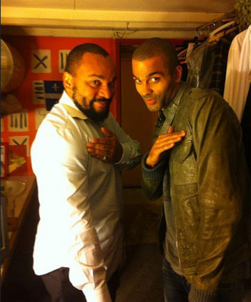 NBA star Tony Parker, right, has apologised after this photo of him doing the quenelle with Dieudonne years ago emerged.