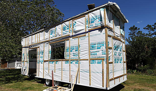 TINY: The yet-to-be-finished house is entirely mobile.