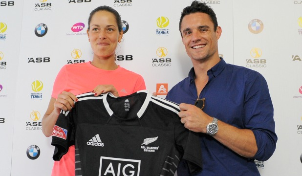 BACKING BLACK: Serbia's Ana Ivanovic was gifted an All Blacks Sevens jersey by All Blacks star Dan Carter, who presented it to her at her press conference after the match.