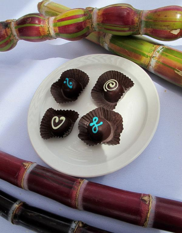 Chocolates made with vodka and goat cheese, a partnership between Ocean Vodka and neighboring Surfing Goat Dairy, are surrounded by samples of organic sugar cane grown on the Ocean Vodka plantation in Kula, Maui, in Hawaii.