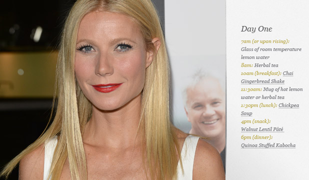 GOOP: Here's day one of Gwyneth Paltrow's 300-calories-a-day detox plan.