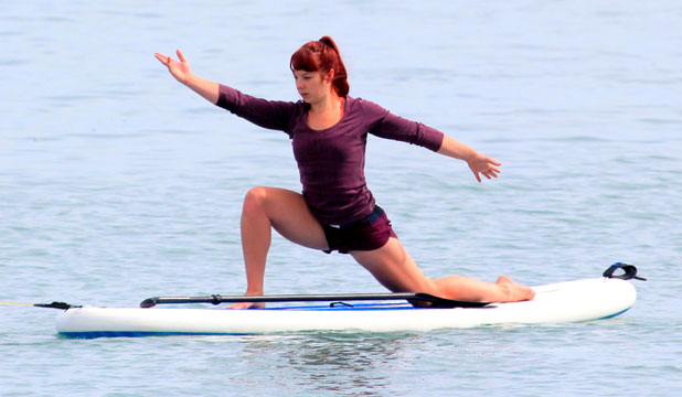 CALM STRETCH: Gina Andrews takes a yoga class at Port Nelson.