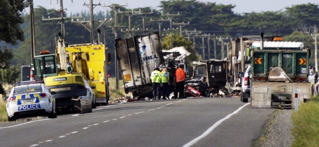HORROR SCENE: Two trucks and a car were involved in this fatal crash south of Sanson on State Highway 1.