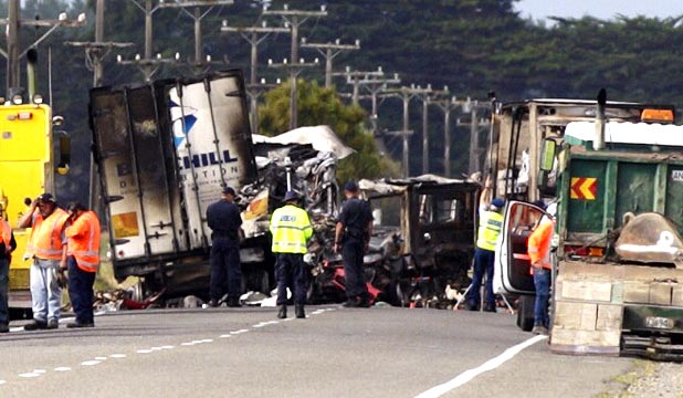 TRAGEDY: It was believed the crash occurred when a car became caught between two trucks, possibly as one of the vehicles attempted an overtaking manoeuvre.