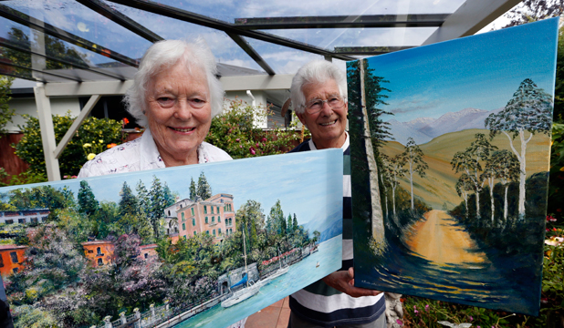 GARDEN ART: Elaine Burgon and Allan Richardson with their art works that will be on display at the Art Group Nelson annual exhibition at Queens Gardens on Saturday.