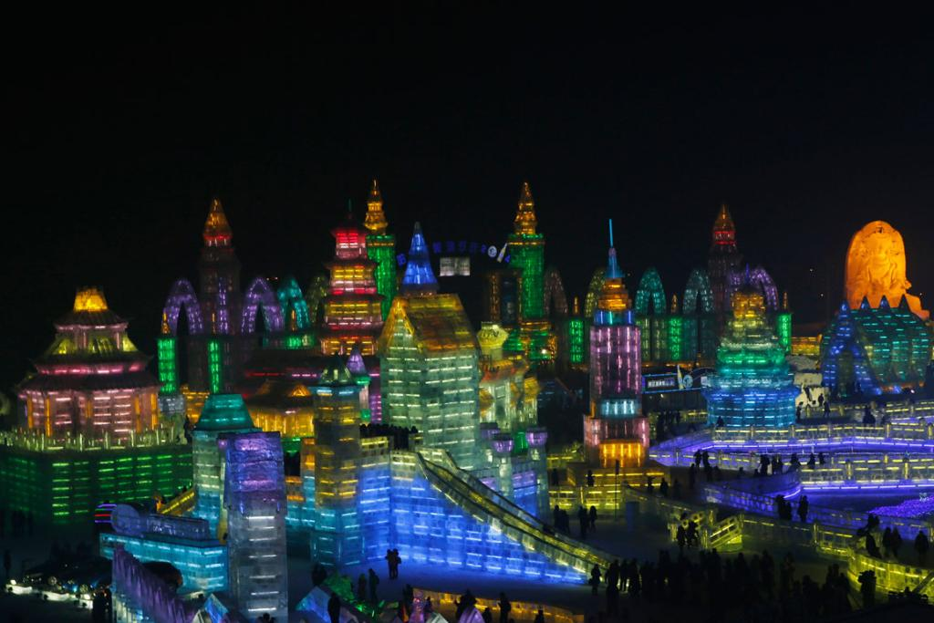 A general overview of ice sculptures at the Harbin Ice and Snow Sculpture Festival in the northern city of Harbin, Heilongjiang province.