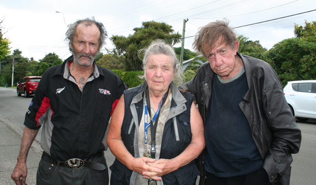 Homeless: Residents have been left homeless, including George, left and Noel, right, with boarding house owner Pamela Watson