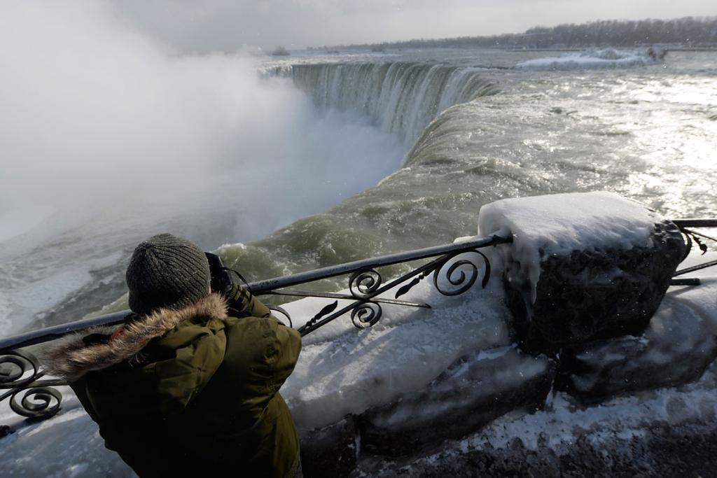 The big freeze hasn't deterred tourist from the falls.