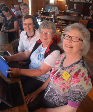SWITCHED ON: Social media fans from SeniorNet Nelson at the first Gigatown tweetup. From left Mrs Margaret Bailey, Mrs Helen Gowland and Ms Elizabeth McKendry