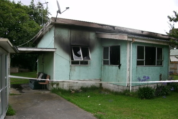 Gutted: The Matai Rd boarded house destroyed by fire yesterday morning.