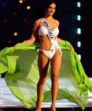 BEAUTY QUEEN: Monica Spear on the catwalk during a swimwear competition in 2005.