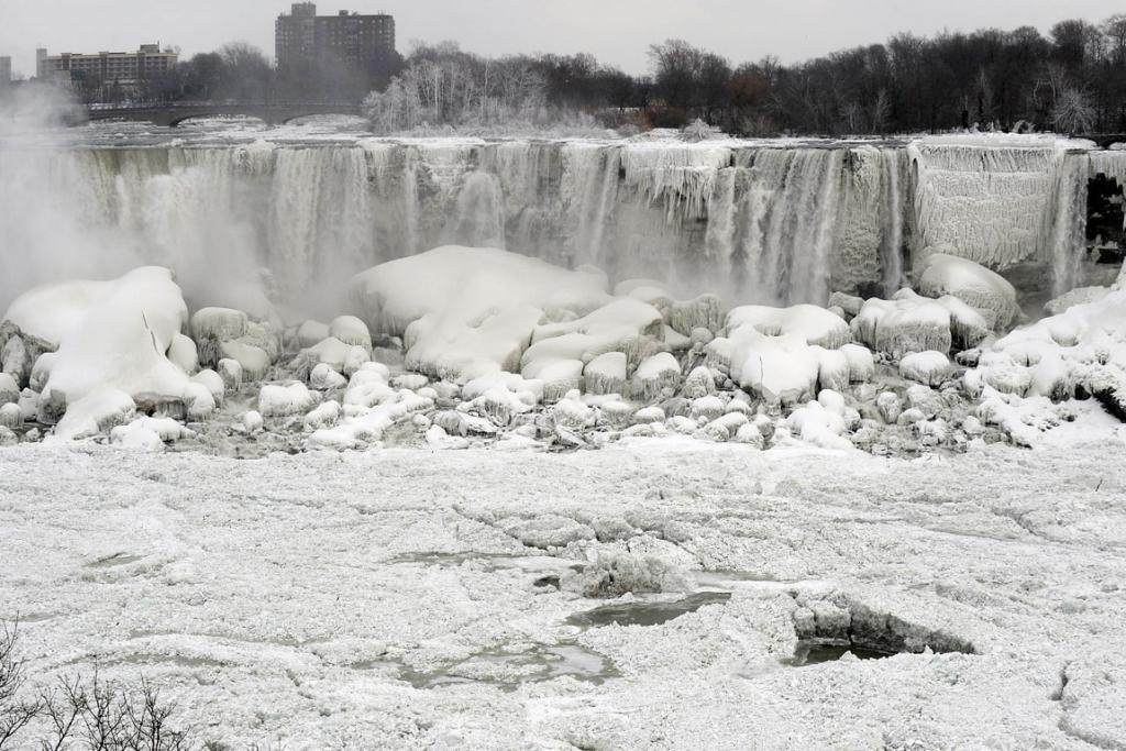 The US side of the Niagara Falls frozen over.