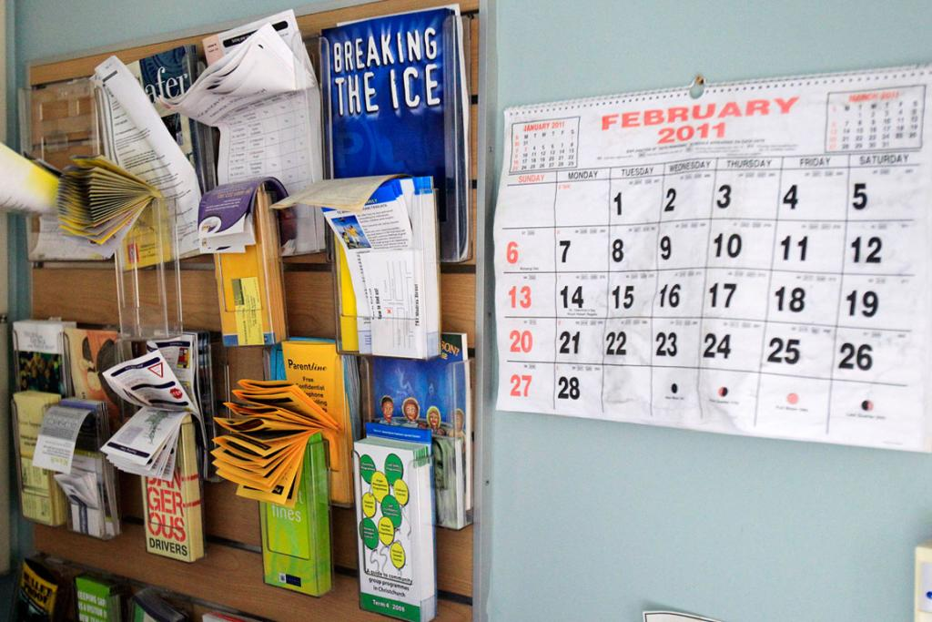 CALENDAR: Inside the Lyttelton Police station. A calendar with the date February 2011 and brochures are untouched since the quake.