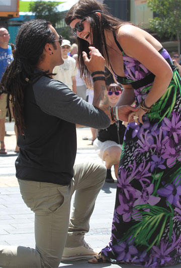 LOVE STORY: Dallas Harema used a flash mob of dancing friends to propose to now fiance, Lucy Ferris
