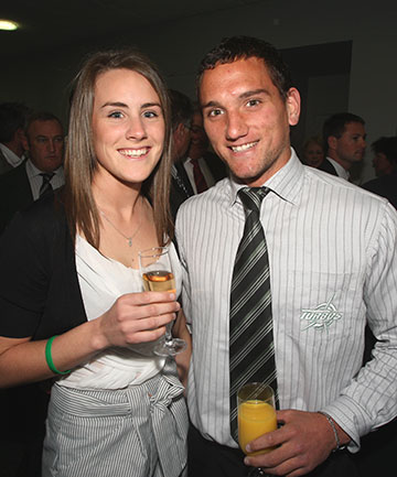 HAPPY DAYS: All Black Aaron Cruden, pictured with Grace King at a Manawatu Turbos function at Awapuni Function Centre in 2009.