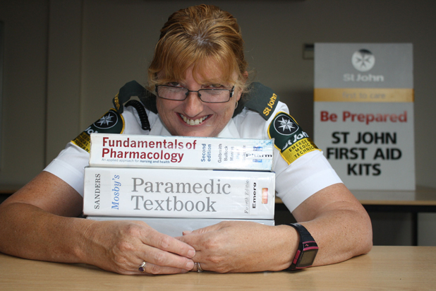 Book bound: St John Havelock volunteer ambulance officer Jo Douglas is extending her medical skills by studying for a health science degree.
