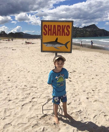 George Howcroft, 4, at Pauanui beach which has been closed due to shark sightings this afternoon.