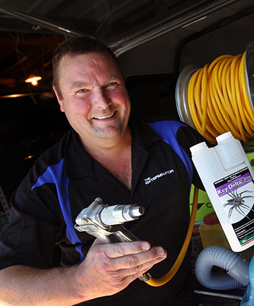 SPRAY IT: Pest exterminator Dave Curry says there has been a big rise in callouts for spider outbreaks.