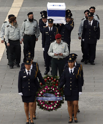 Coffin of former Israeli prime minister Ariel Sharon