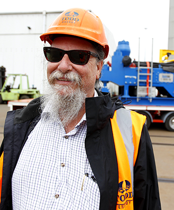 RIG MAN: Australian Shaun Hemming is the man charged with assembling Todd Energy's $42million drilling rig which arrived from Europe at Port Taranaki on Saturday.