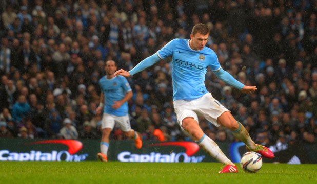 GOAL TIME: Edin Dzeko netted the first of Manchester City's two goal win over Newcastle at St James' Park at the weekend.