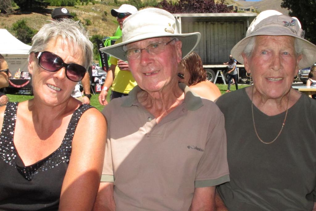 Pauline Wood, left, and her parents, Alex and Yvonne Wood at the Lake Hayes A & P Show.