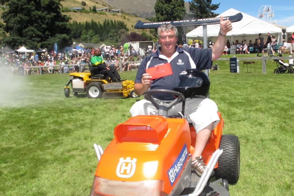 Alan McCrostie, of Alexandra, won the Lake Hayes A & P Show lawn mower race for the third year running.